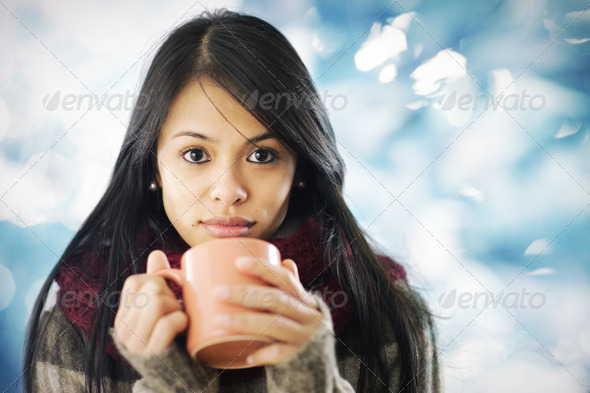 Beautiful girl in warm clothing - Stock Photo - Images