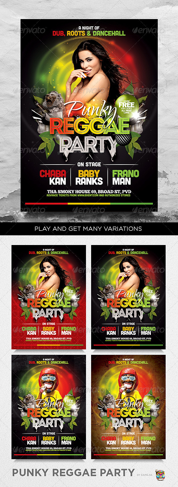 GraphicRiver Punky Reggae Party Flyer Template 3784575