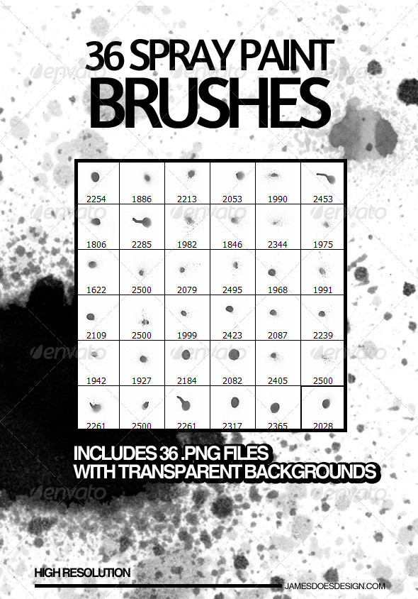 GraphicRiver 36 Spray Paint Photoshop Brushes 3864757