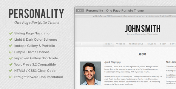 Personality - One Page Portfolio WordPress Theme - Template Preview