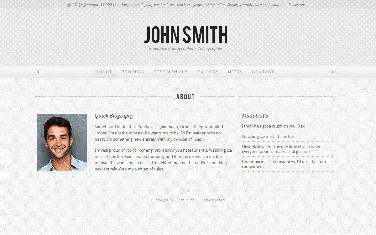 Personality - One Page Portfolio WordPress Theme - Light Skin