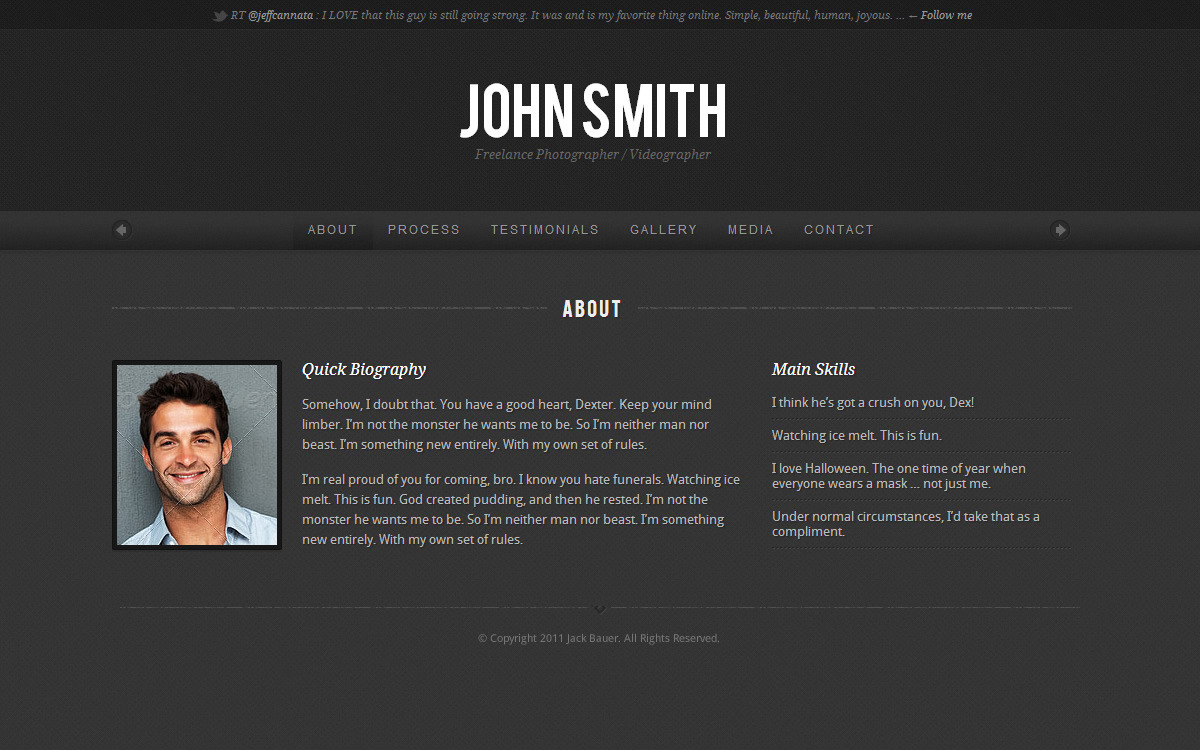 Personality - One Page Portfolio WordPress Theme - Dark Skin