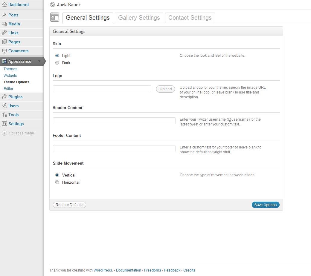 Personality - One Page Portfolio WordPress Theme - Theme Options