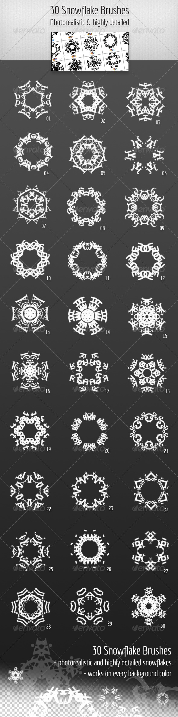 GraphicRiver 30 Highly detailed Snowflake Brushes 3865471
