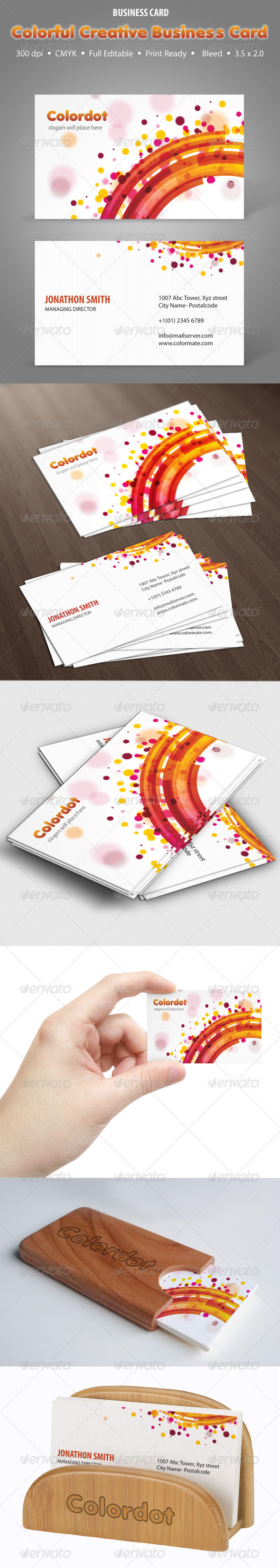 GraphicRiver Colordot Creative Business Card 3865639