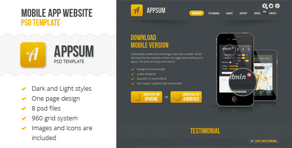 ThemeForest Appsum OnePage Mobile APP PSD Template 3861371