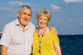 happy retirement, elderly couple on vacation