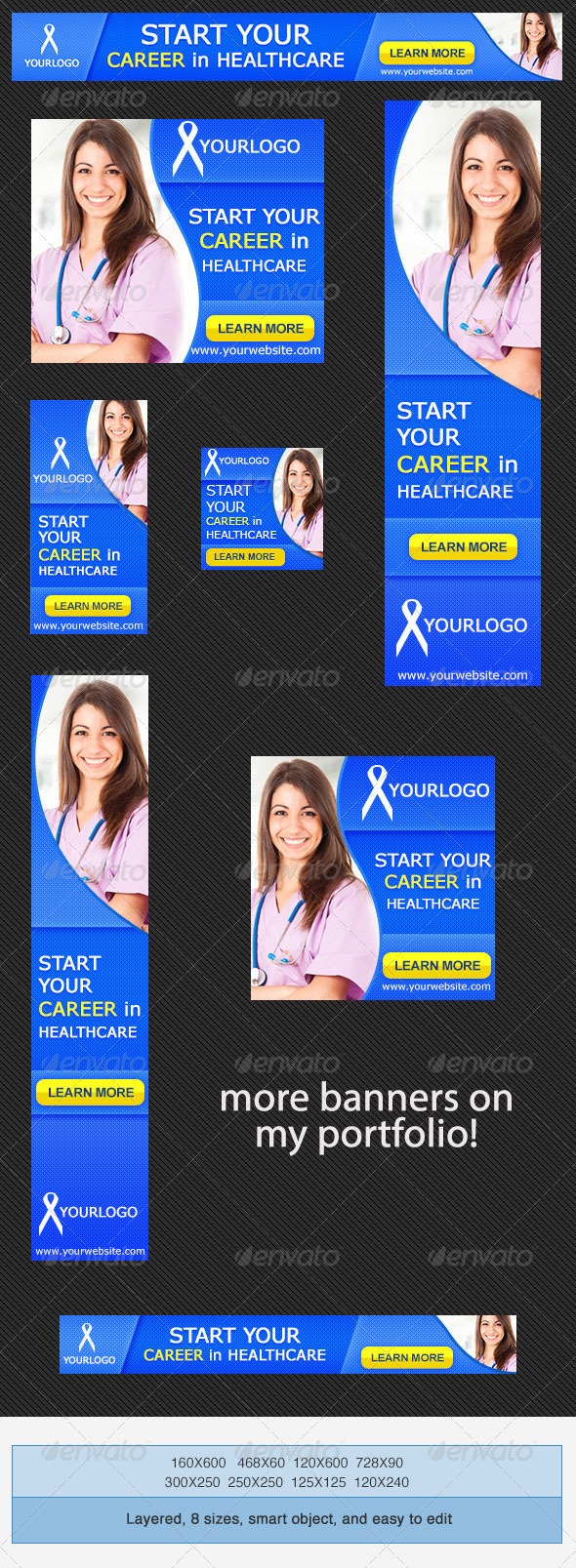 Medical Career Banner Ad Template - Banners & Ads Web Elements