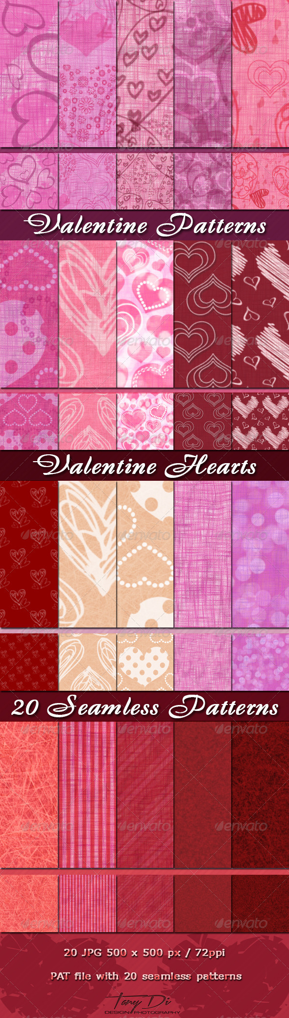 GraphicRiver Valentine Patterns 3866801