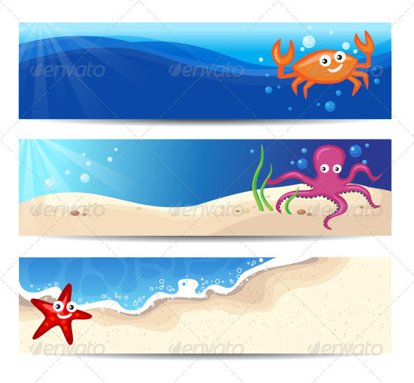 GraphicRiver Summer Banners With Cute Sea Characters 3867248