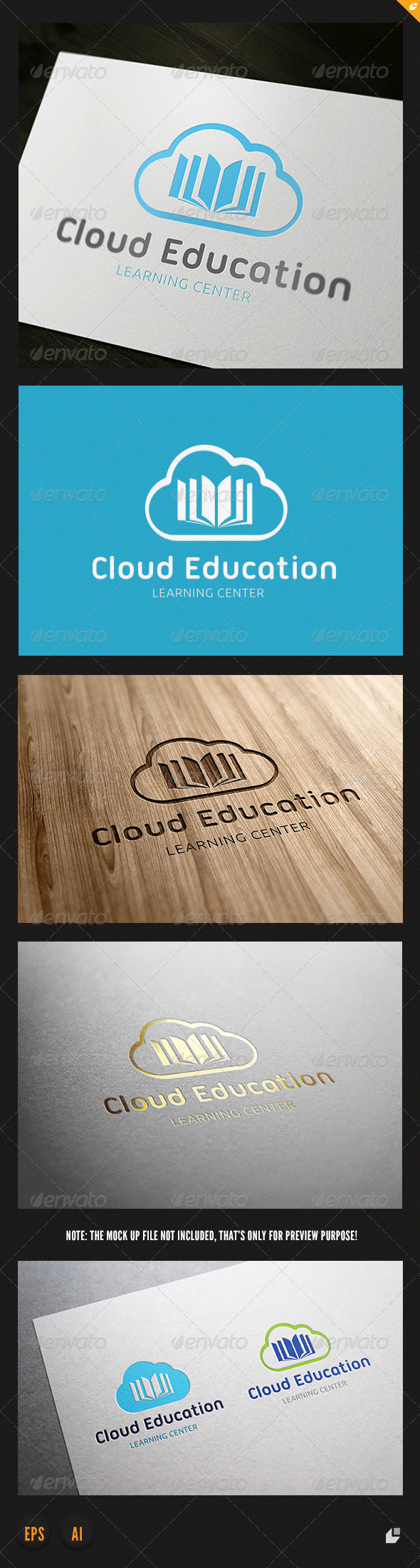 GraphicRiver Cloud Education Logo 3867433
