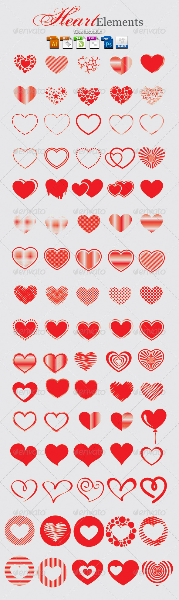 GraphicRiver Heart Elements 3867613