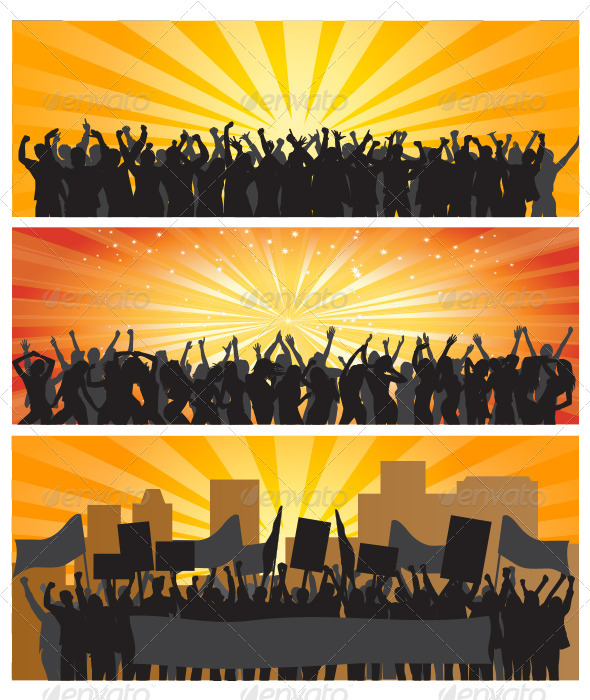 GraphicRiver Crowd Silhouettes 3868250