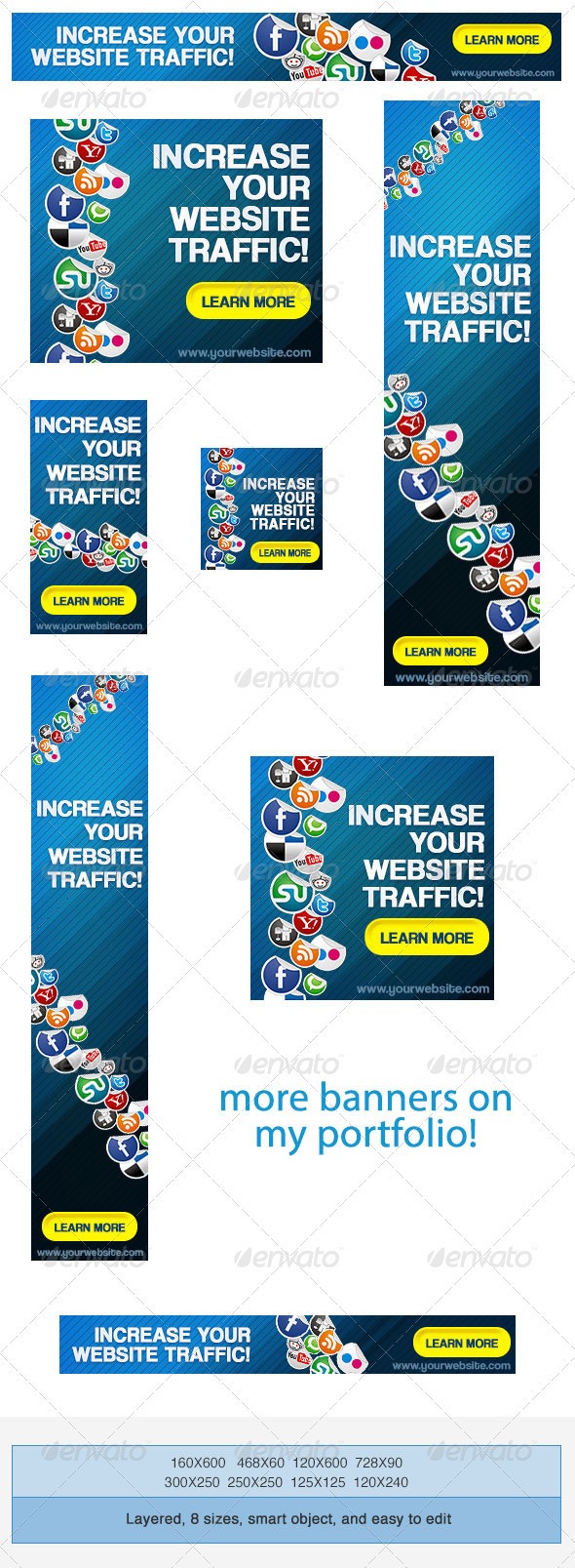 Social Media Network Banner Ad Template - Banners & Ads Web Elements