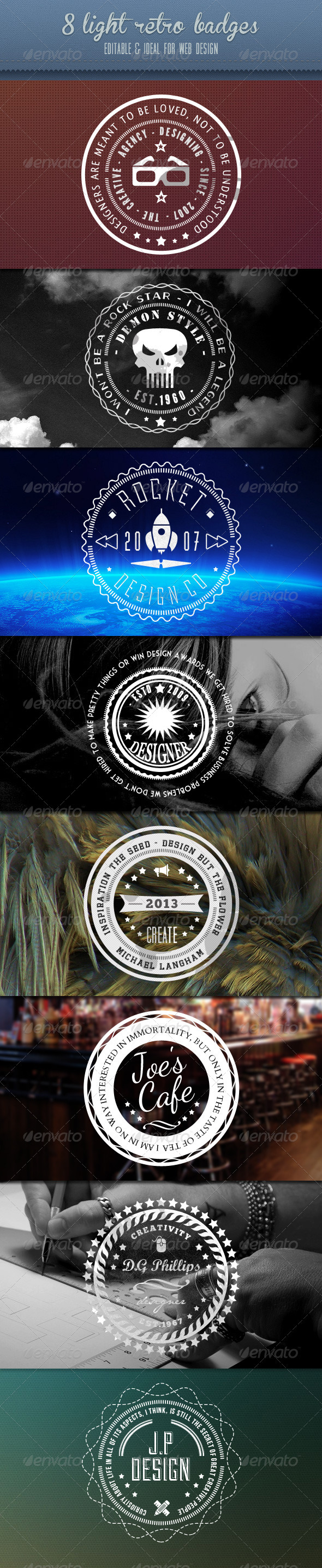 GraphicRiver Retro Badges Vintage White Set 3869395