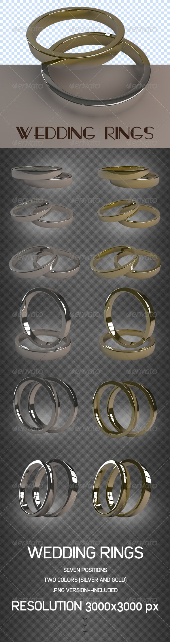 GraphicRiver 3D Wedding Rings 3869483