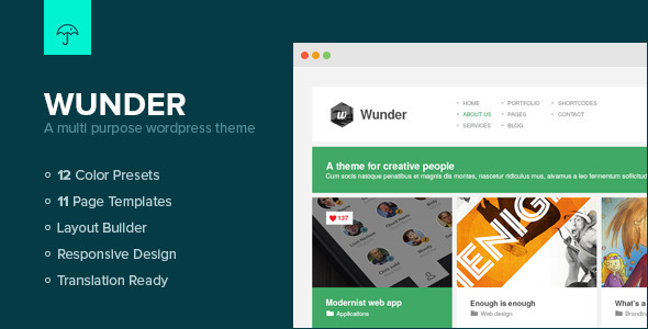 ThemeForest Wunder Multi Purpose Wordpress Theme 3853901