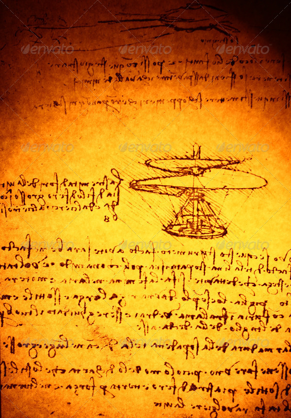 Leonardo's Da Vinci Drawing - Stock Photo - Images