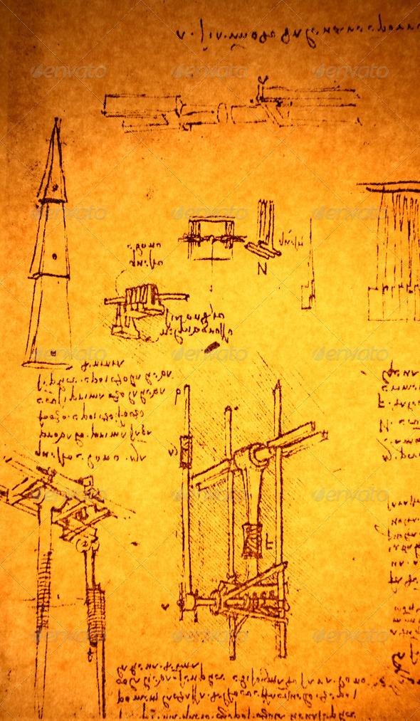 Leonardo's Da Vinci Drawing - Stock Photo - Images