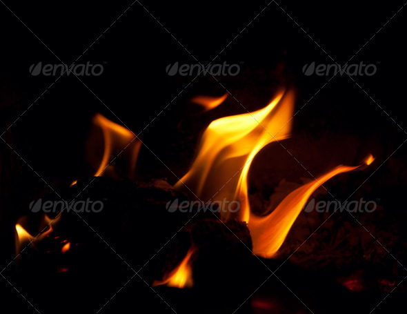 Fire on black background - Stock Photo - Images