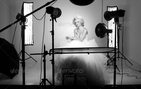 behing the scenes shooting a bride in a professional studio with multiple lights - Stock Photo - Images