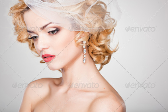 beautiful bride portrait wearing professional make-up shoot in the studio - Stock Photo - Images