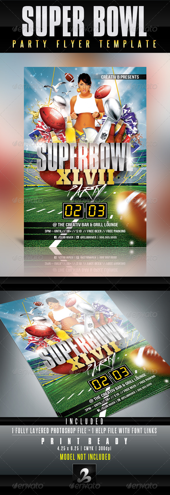 GraphicRiver Super Bowl Party Flyer Template 3875474