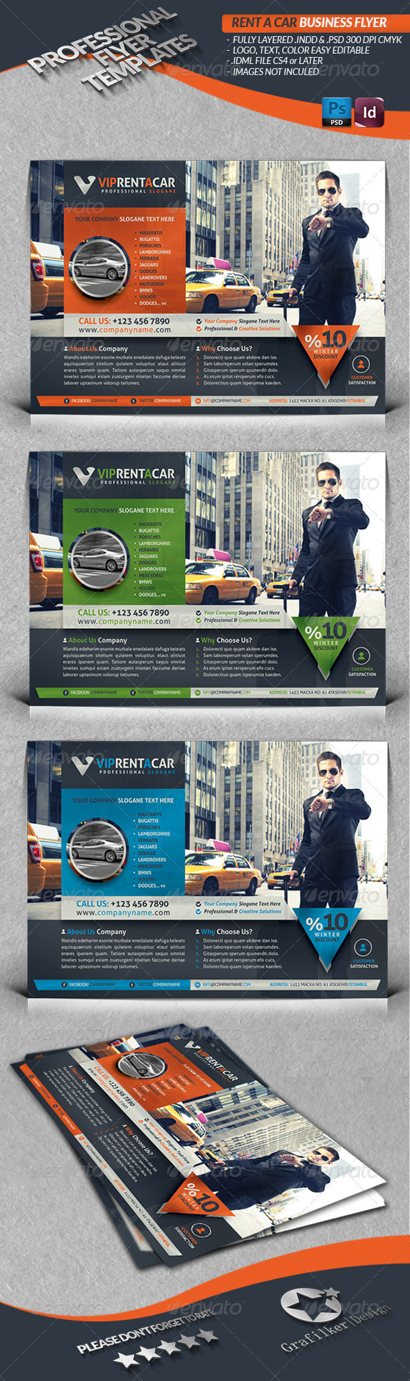 GraphicRiver Rent A Car Business Flyer 3790931