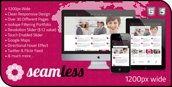 ThemeForest Seamless Responsive HTML5 1200px Template 3800000