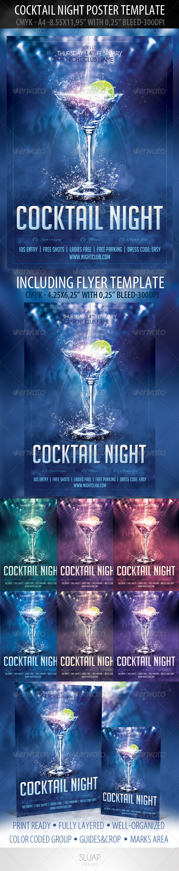 Cocktail Night Poster Template & Cocktail Night Flyer - Clubs & Parties Events