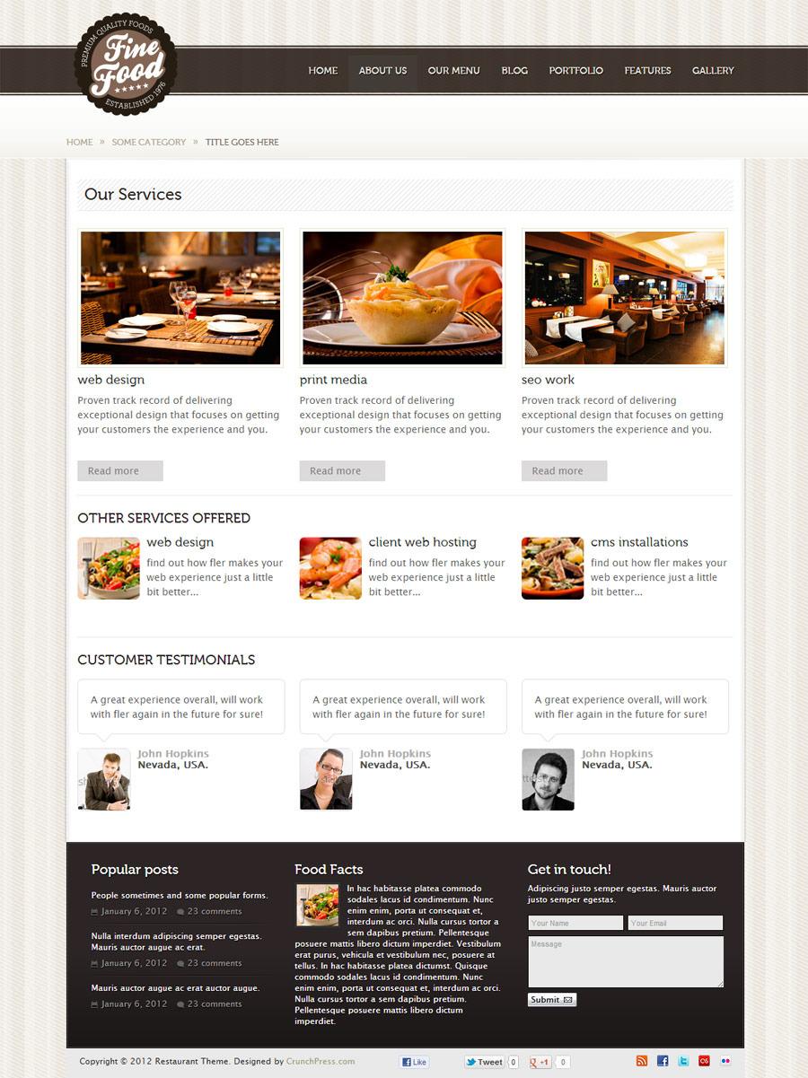Fine Food - Restaurant Responsive HTML5 Theme