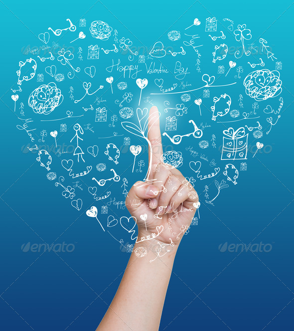 Hand pushing heart icon of tablet on a touch screen - Stock Photo - Images