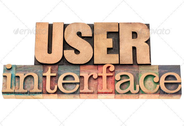 user interface in wood type - Stock Photo - Images