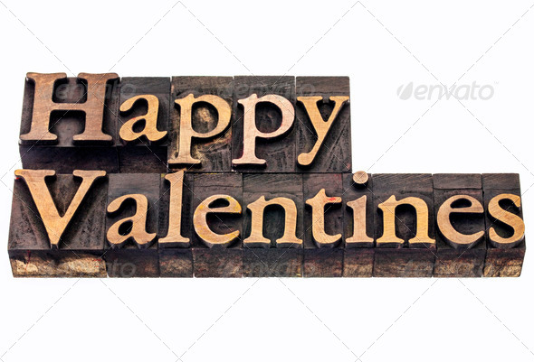 Happy Valentines in wood type - Stock Photo - Images