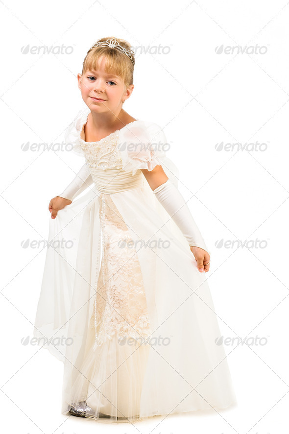 PhotoDune Beautiful little dancer wearing princess dress isolated over whi 3879613