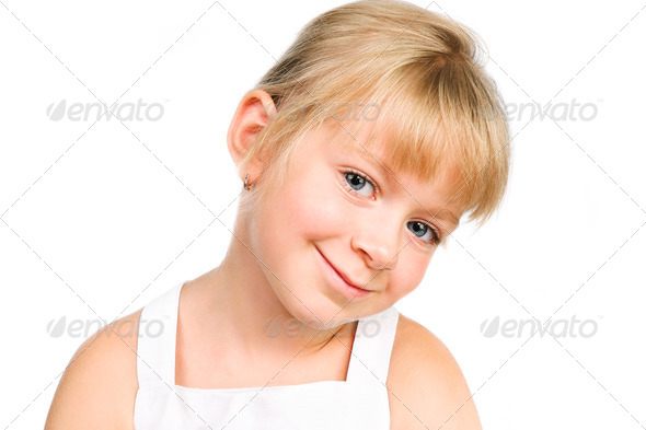 PhotoDune cute little girl smiling isolated over white 3879986