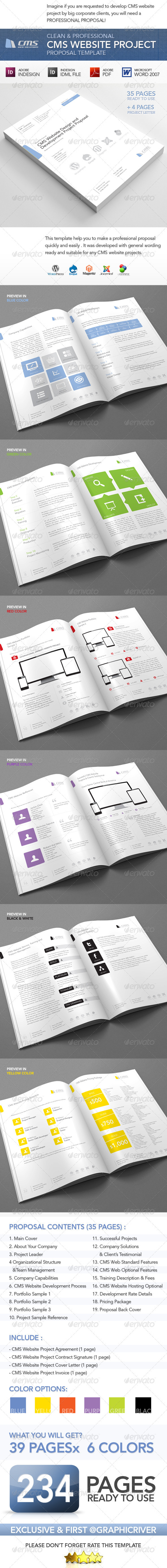 Clean and Professional CMS Web Project Proposal - Proposals & Invoices Stationery