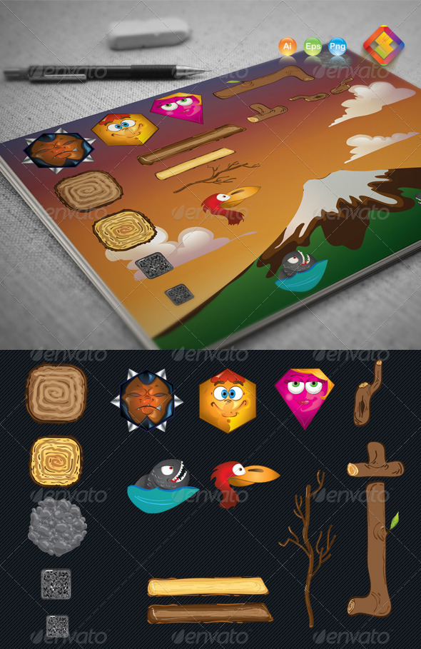Game Characters and Props Creation Set - Characters Vectors