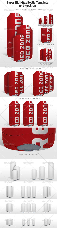 Multi-Purpose Highrez Bottle Mockup u0026 Template