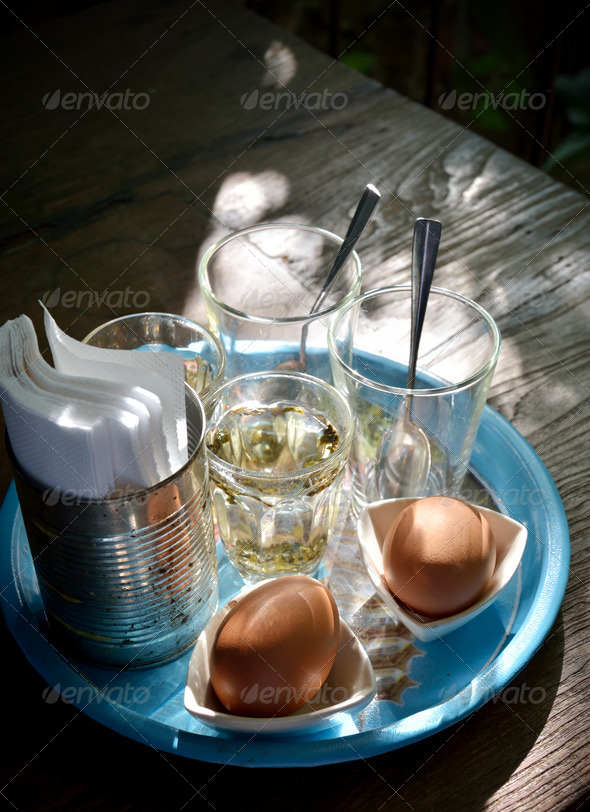 PhotoDune Soft-boiled egg in retro style with morning light 3881621