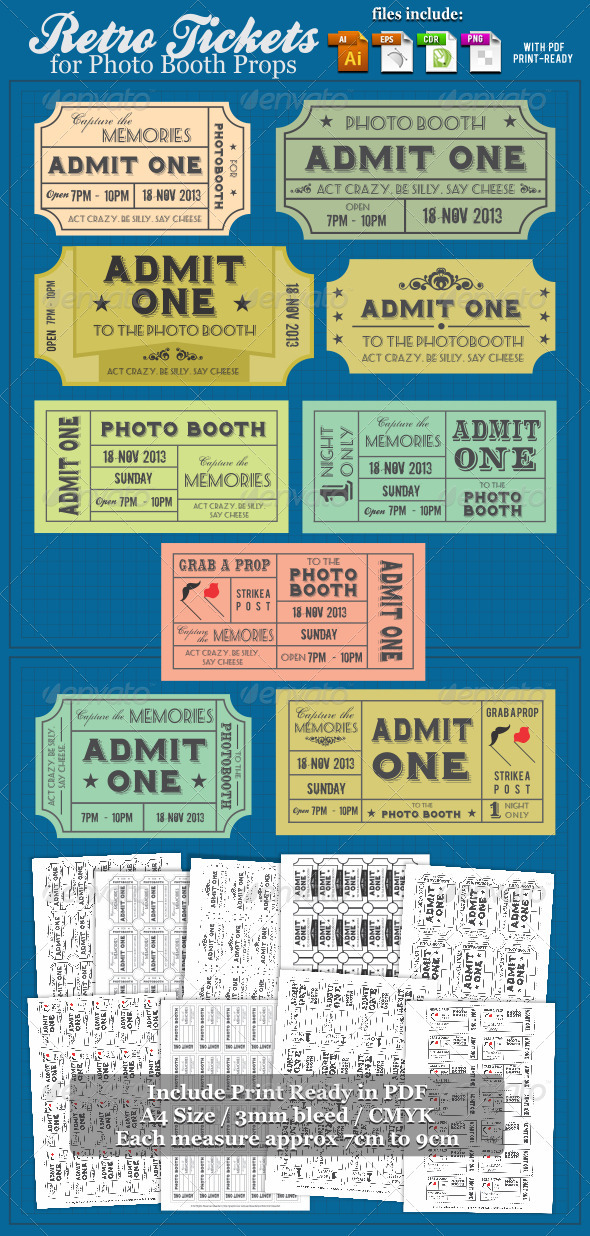 GraphicRiver Retro Tickets For Photobooth Props 3881719