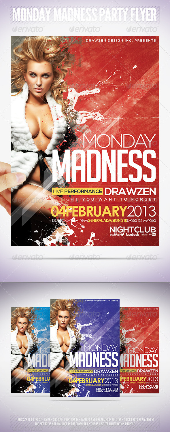 GraphicRiver Monday Madness Party Flyer 3882306