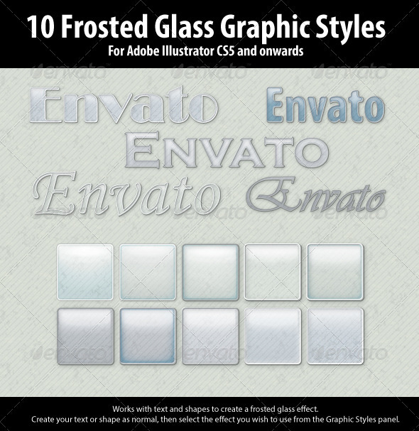 GraphicRiver 10 Frosted Glass Graphic Styles for Illustrator 3882808