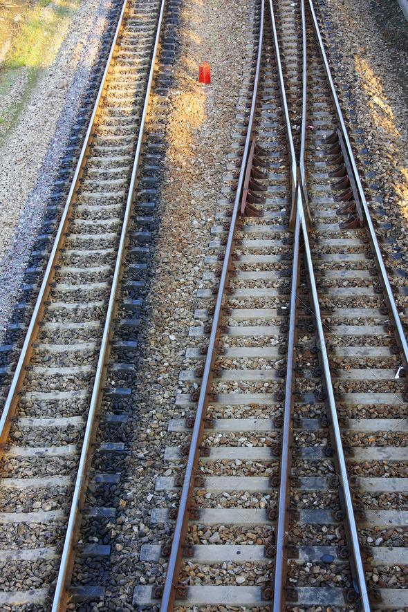 PhotoDune railroad and siding ballast track 3883207