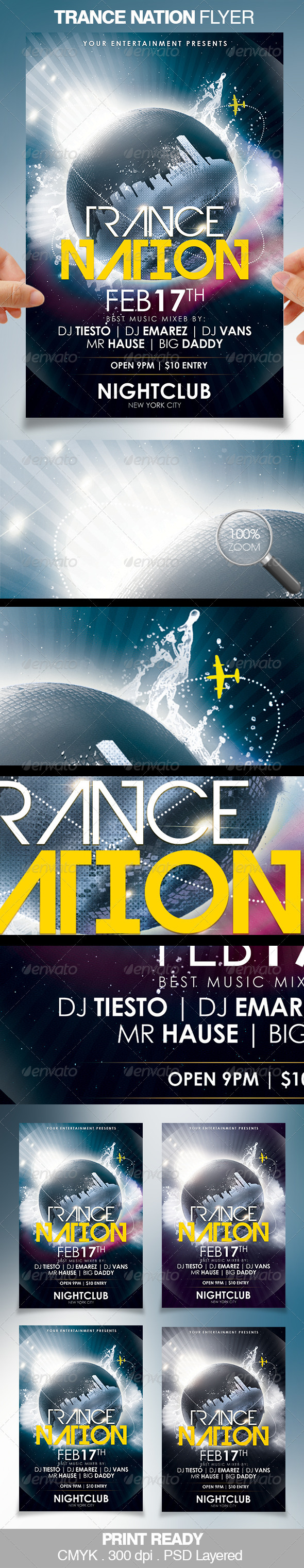 Trance Nation Party Flyer - Clubs & Parties Events