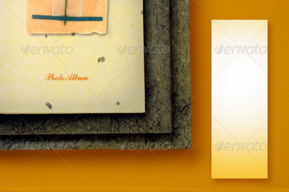 PhotoDune photo album with copy apace on yellow background 3883654