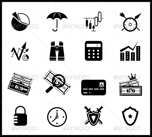 Finance protection icon set - Web Elements Vectors