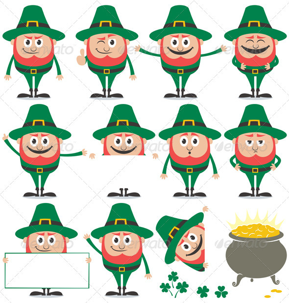 Leprechaun Set - Characters Vectors