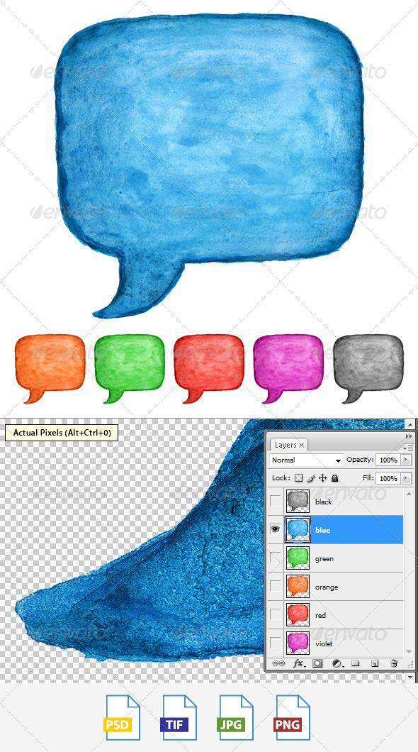 GraphicRiver 6 Speech Bubble Watercolor Square Shape 3883954