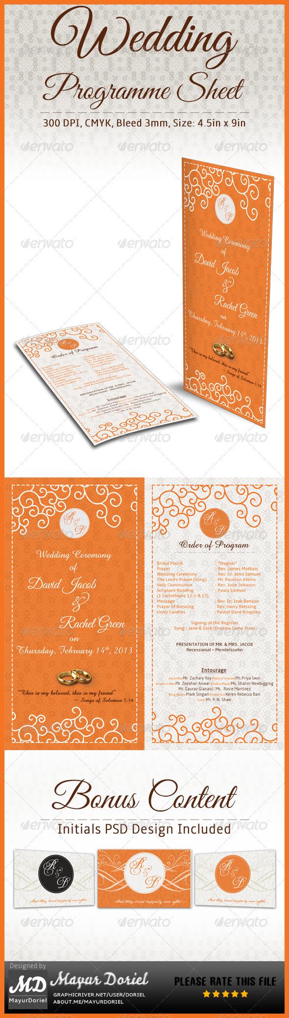 GraphicRiver Wedding Programme Sheet Schedule 3883996